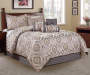 Jacquard Cream and Gray 7-Piece King Comforter Set Room Scene