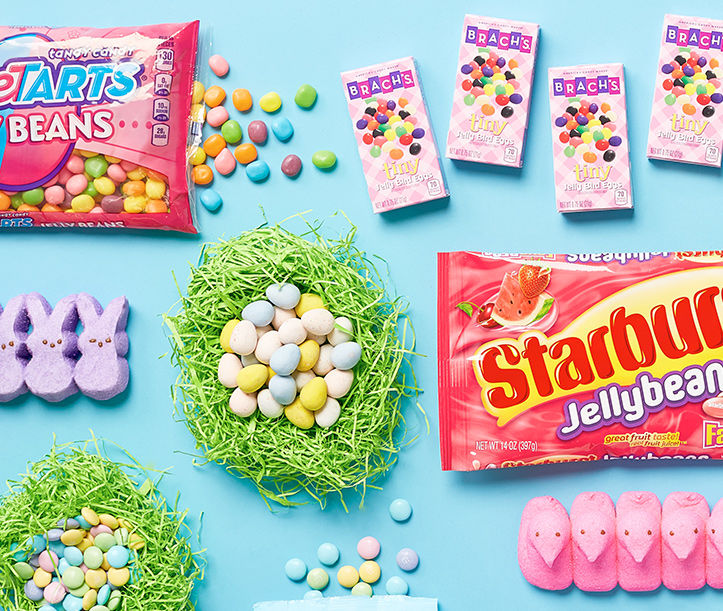 Easter candy, jelly beans, peeps