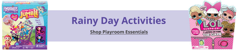 Rainy Day Activites! Shop playroom essentials.