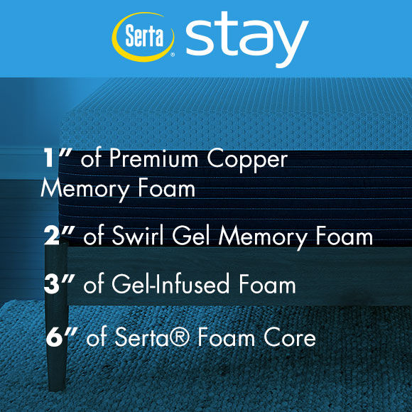 Serta Stay 12inch Copper Infused Gel Memory Foam Mattresses