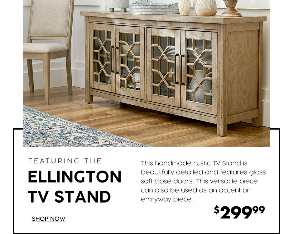 Ellington TV stands. Rustic tv stand that is beautifully detailed and feature glass soft close doors