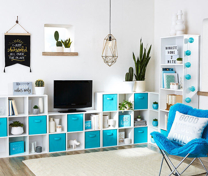 Living space with cubbies