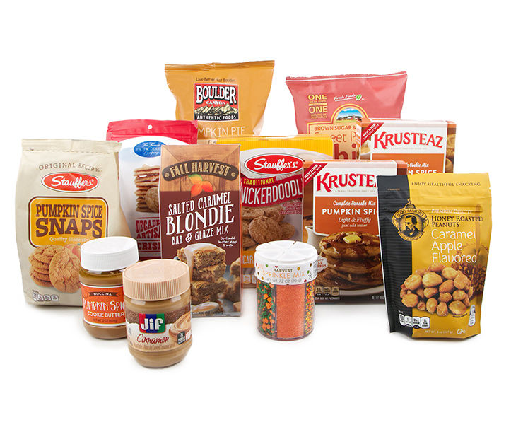 Fall and pumpkin flavored baking mixes, chips and cookies