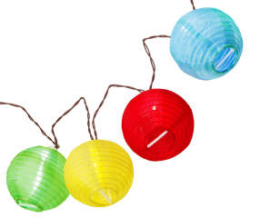 Multi Color Fabric Led Lantern Lights With Timer 10 Count
