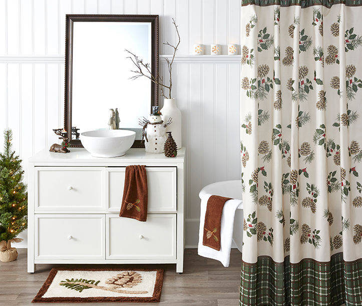 Holiday bathroom shower curtains and decorations