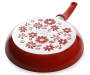 10in Red Floral Fry Pan silo top view of the pan bottom
