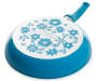 10in Teal Floral Fry Pan silo top view of pan bottom