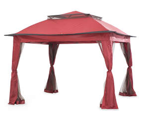 wilson fisher red pop up canopy with netting 11 39 x 11 39 big lots. Black Bedroom Furniture Sets. Home Design Ideas