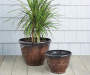 "12"" Brown Zeus Dura Glaze Plastic Planter"
