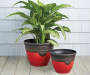"12"" Red Greco Roman Plastic Planter"