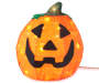 12 Inches Lighted Burlap Pumpkin with Jack O Latern and Lights On Silo Image