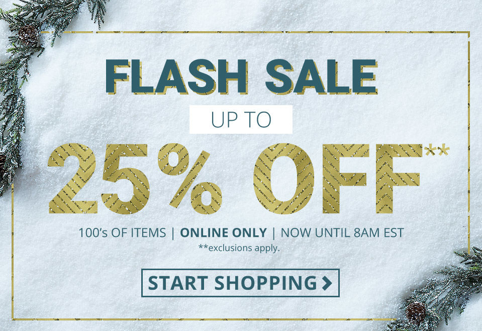Flash Sale up to 25 Percent Off 100s of items. Online only. Exclusions apply.