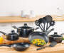 14-Piece Black Non-Stick Aluminum Cookware Set