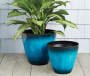 "15"" Blue Cassini Drip Plastic Planter"