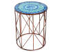 16 Inch Blue Mosaic Glass Top Garden Table Front View Silo Image