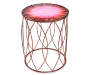 16 Inch Red Floral Glass Top Garden Table Front View Silo Image