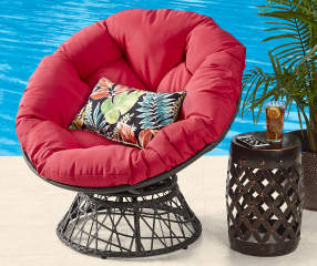 Wilson Fisher Papasan Swivel All Weather Wicker Chair With Red