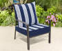 2 PC NAVY CABANA STRIPE DEEP SEAT CUSHION SET