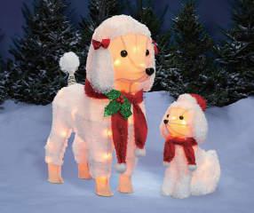 Winter Wonder Lane 2 Piece Holiday Light Up Poodle Set