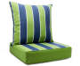 2PC GRN CABANA STRIPE DEEP SEAT CUSHIONS