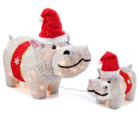 Hippo Christmas Ornament.Winter Wonder Lane Light Up Hippo Family 2 Piece Set Big Lots