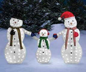 Winter Wonder Lane Light Up Led Snowman Family 3 Piece