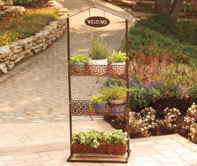Wilson fisher 3 tier welcome d cor garden shelf big lots for Big lots garden decor