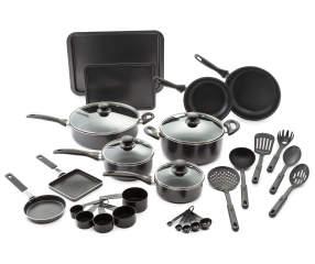 great gatherings black aluminum 30 piece cookware set big lots. Black Bedroom Furniture Sets. Home Design Ideas