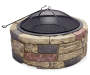 35in Faux Stone Fire Pit silo front