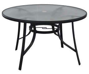 wilson fisher 48 round glass dining patio table big lots. Black Bedroom Furniture Sets. Home Design Ideas