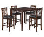 5 Piece Walnut Pub Set on White Background