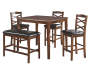 5-Piece Wooden Pub Set with Bench on White Background