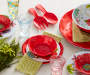 50% MELAMINE SOLID FLORAL SALAD BOWL - RED