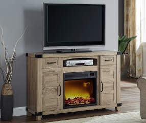 54 Quot Light Brown Rustic Console Electric Fireplace Big Lots