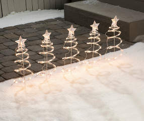 Winter Wonder Lane Spiral Light Up Tree Stakes 5 Pack