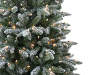 6 Foot Blitzen Flocked Pre Lit Artificial Christmas Tree in Urn Close Up Detail Silo Image