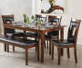 6-Piece Padded Dining Set with Bench
