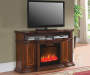 "60"" Console Cherry Electric Fireplace Room view"