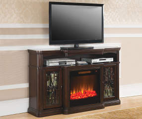 60 Quot Walnut Finish Electric Fireplace Big Lots