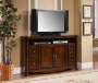 60 Inch Ash Burl Finish TV Stand with Displayed TV Room View