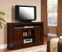 60 Inch Cherry Planked TV Stand with Displayed TV Room View