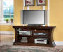 60 Inch Curved 2 Shelf TV Stand Displayed TV Room View
