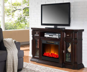 60 Quot Espresso Console Electric Fireplace Big Lots