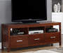 60 Inch Walnut 3 Drawer TV Stand with TV and Compnents Room View