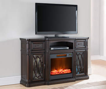 . images biglots com 60IN WALNUT CONSOLE FIREPLACE s