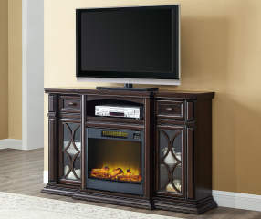 60 Quot Walnut Console Electric Fireplace Big Lots