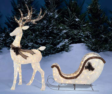 6500 - Outdoor Christmas Reindeer Decorations Lighted