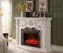 62 Inch Grand White Fireplace Lit Up Room View