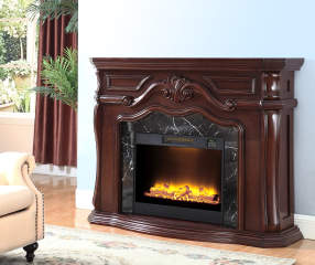 62 Quot Grand Cherry Electric Fireplace Big Lots