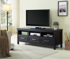 Just Home 65 Quot Black 3 Drawer Melamine Tv Stand Big Lots